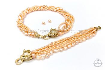 5 LAYER PEACH PEARL CLASSIC LEOPARD DESIGN NECKLACE,BRACELET AND EARRING (5���ͷ3���ף�
