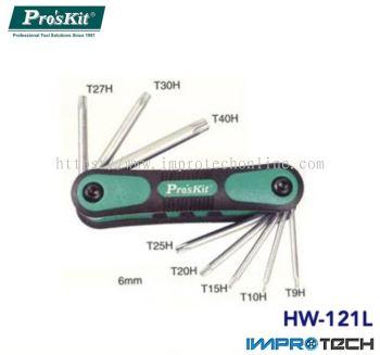PRO'SKIT [HW-121L] 8Pcs Folding Star Key Set(T9H, T10H, T15H, T20H, T25H, T27H, T30H, T40H)