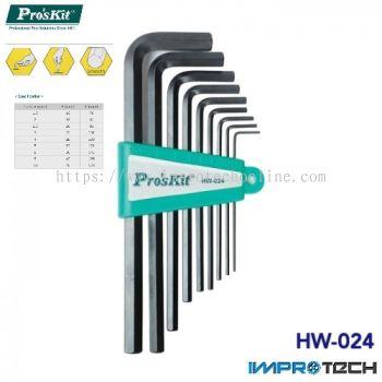 PRO'SKIT [HW-024] 9Pcs Long Arm Hex Key Set(1.5/2/2.5/3/4/5/6/8/10mm)