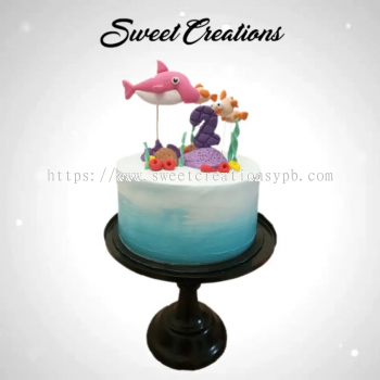 Baby Shark Underwater Theme Fresh Cream Cake