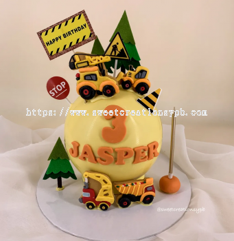 Yellow Truck Theme - Knock Knock Cake