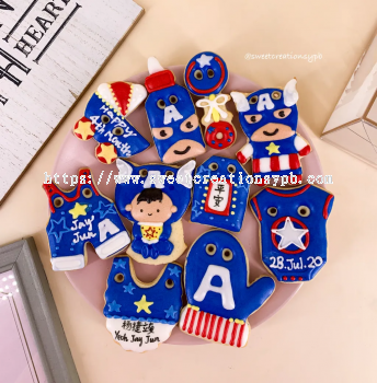 Baby Captain America Theme - Royal Icing Cookies