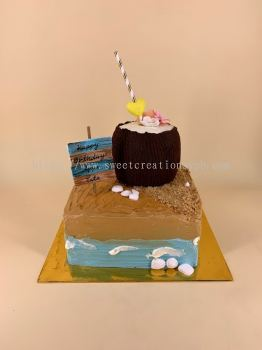Beach and Coconut Hawaii Theme Cake - Buttercream Cake
