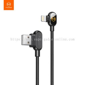 Mcdodo 90 Degree Data Cable Nylon Braided Quick Charge 1.2M Data Cable For Iphone Led Charge Cable