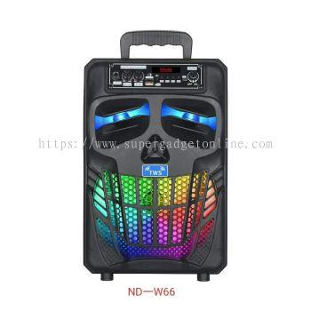 SPEAKER ND-W66 TWS Wireless Bluetooth Portable HIFI Speaker With Microphone / Super Bass Subwoofer / LED Light / FM Radio