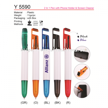 Y 5590 2 in 1 Pen with Phone Holder & Screen Cleaner