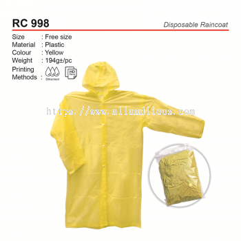 RC 998 Disposable Raincoat