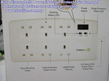 TrickleStar Surge Protector 6-Socket Fireproof (182SP-UK-6XX) Premium Quality Trailing Socket