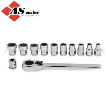 "SNAP-ON 12 pc 1/4"" Drive 6-Point Metric Flank Drive Low Profile Ratchet/ Socket Set (5-13 mm) / Model: 112RTSMA"