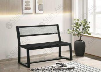 Industrial Style Black Metal Bench (2 Seater) - SABC5957