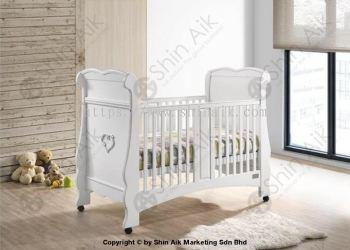 White Elegant Solid Wooden Baby Cot - SABB