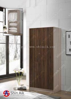 Walnut & Natural Modern Asymmetrical Doors Wardrobe (2.5'x6'ft) - SAWR931