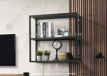 VARIO Industrial Style 3-Tier Black Metal Wall Shelves (3'ft) - MX307