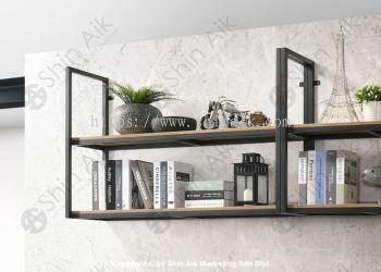 VARIO Industrial Style 2-Tier Fixed Cedar Wooden & Metal Wall Shelves (4'ft) - MX 306