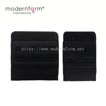 Back Bra Extender Straps 2/3 Hooks 3 Rows Underwear Strapless (Black)