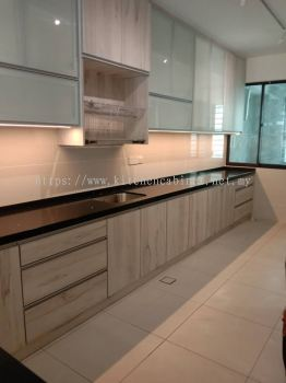 Frosted Glass Door Wall Cabinet, Plywood Laminate Base Cabinet, Sungai Buloh
