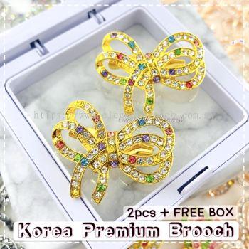 Elegant Brooch 2pcs [FREE BOX]  Korea Premium Brooch Ribbon / Kerongsang Pin Bahu B2851