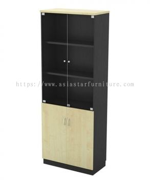 TITUS FULL HEIGHT WOODEN OFFICE FILING CABINET C/W SWINGING GLASS DOOR AT-YGD 21