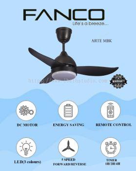 """Fanco Arte F1311 36""""/46""""/52"""" MBK DC Motor Ceiling Fan"""
