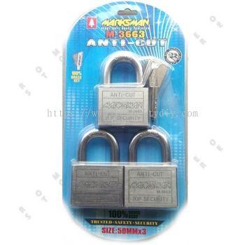 50MM X 3PCS MARKSMAN ANTI-CUT PAD LOCK