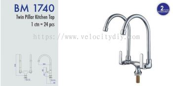 Twin Pillar Kitchen Tap