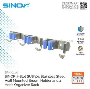 3-SLOT STAINLESS STEEL WALL MOUNTED BROOM HOLDER (BF-9011-3)
