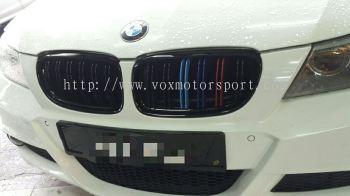 Bmw e90 bumper grille m3 tri color double fin new