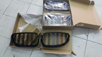 bmw e60 gloss black tri color grill m5 style for e60 replace upgrade performance look abs material new set