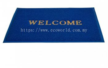 2'x3' Standard Coil Mat With  Welcome-Blue