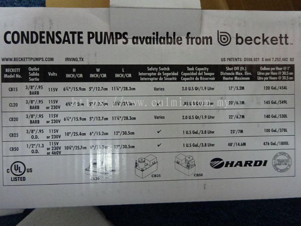 Selangor Beckett Cb202ul Condensate Removal Pump Beckett