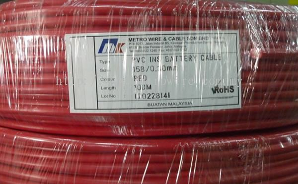 Metro Wire And Cable | Johor Pvc Insulated Battery And Jumper Wire Pvc Insulated Battery