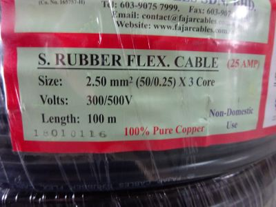 FAJAR 2.5MM2 X 3C TRS CABLE (50/0.25) (300/500V-25AMP) 100M