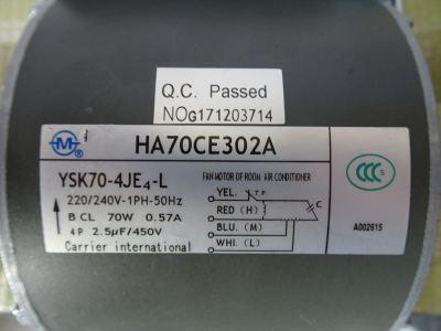 CARRIER YSK70-4JE4-L (HA70CE302A) 70W FAN MOTOR (220V/1PH) C/W CAPACITOR (2.5UF)