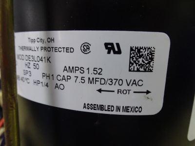 GENTEQ DE3L039/041K/Y 1/4HP (220-240V/50HZ) FAN MOTOR C/W CAP [7.5UF] REPLACED MAGNETEK