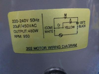HAT302 (1PH 480W [1/3-1/2HP]/RPM950) FAN MOTOR [W/O CAP : 20UF) - (TACC145/MYSS75-125B)