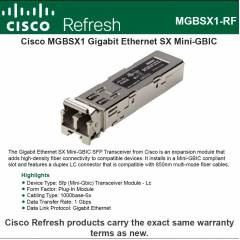 Cisco MGBSX1: Gigabit Ethernet SX Mini-GBIC SFP Transceiver
