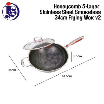 34CM / 36CM Honeycomb 5-Layer Stainless Steel Smokeless Frying Wok V2