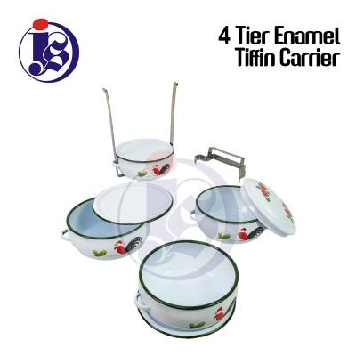 4 Tier Enamel Tiffin Carrier / Mangkuk Tingkat Enamel